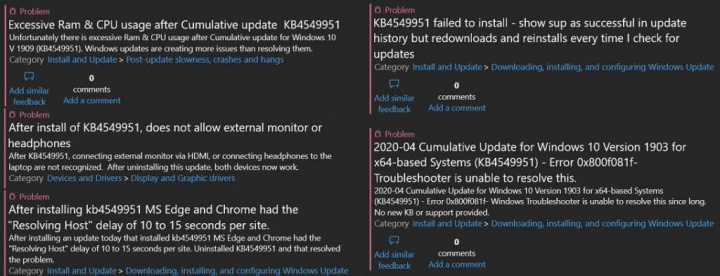 Windows 10 KB4549951 Microsoft falha atualização