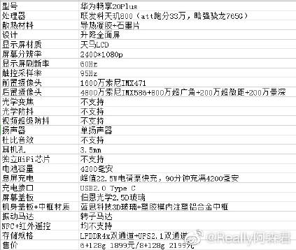 Especificações do Huawei Enjoy 20 Plus com MediaTek Dimensity 800