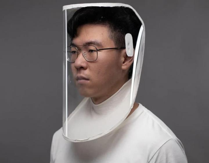 Imagem da máscara a ser usada com os ventiladores laterais
