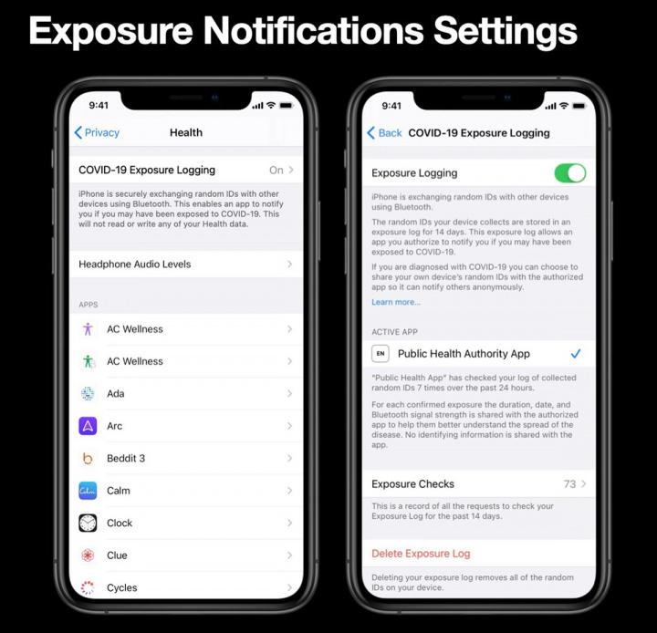 Ilustração app de notificação á exposição COVID-19 no iOS