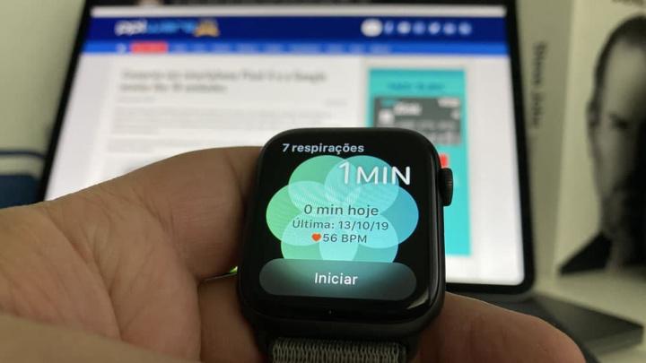 Imagem Apple Watch com modo Respirar ativo