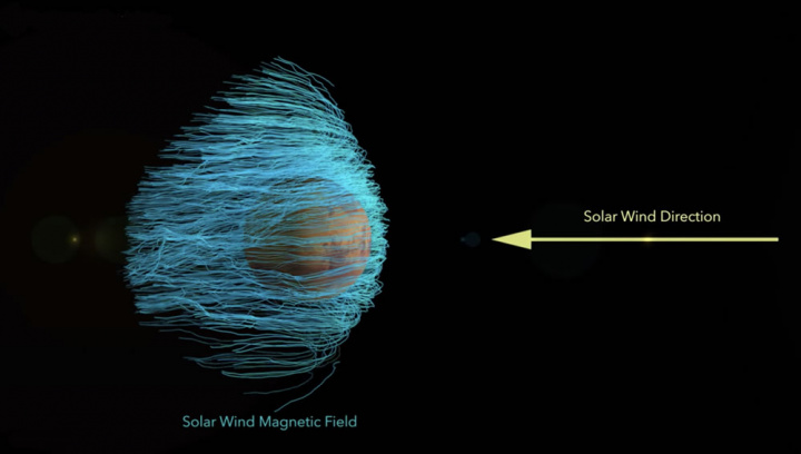 Imagem de Marte envolvido no vento solar