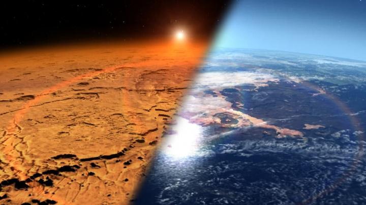 Imagem da NASA do provável antes e do depois do planeta Marte com e sem atmosfera