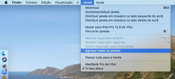 Imagem opção agrupar janelas no macOS Catalina