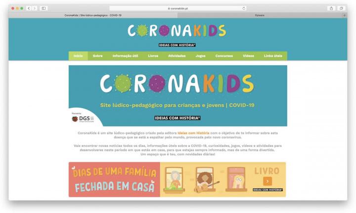Imagem site para crianças a explicar a COVID-19