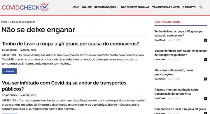 CovidCheck: Não se deixe enganar sobre a COVID-19
