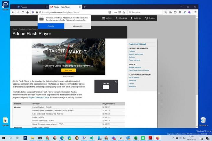 Imagem plugin Flash no Firefox