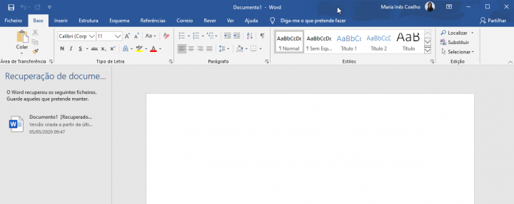 Document saved in word, recovered