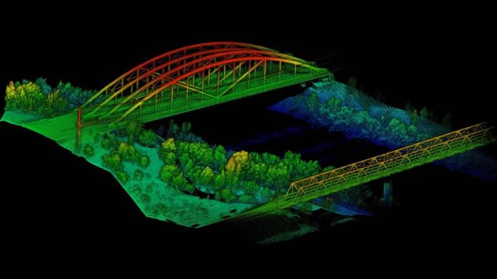 Imagem de como o LiDAR vê as paisagens