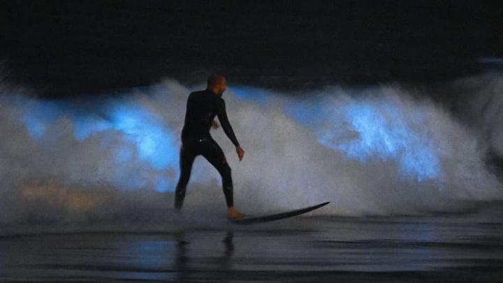 Imagemd e surfista a surfar no meia das Ondas bioluminescentes