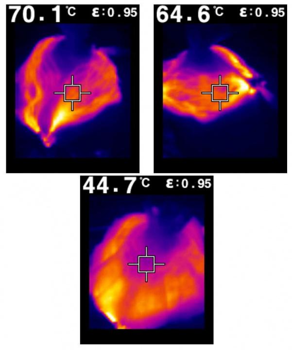 Imagem da temperatura que atinge a máscara para matar o vírus