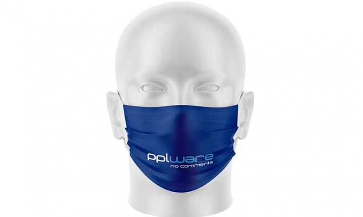 Imagem exemplo de máscara certificada com personalização Pplware para proteção dos vírus