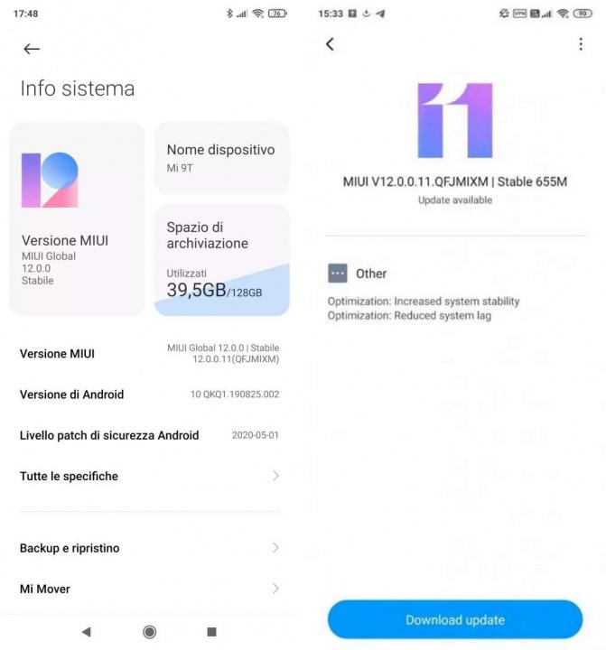 MIUI 12 Xiaomi Mi 9 atualização versão