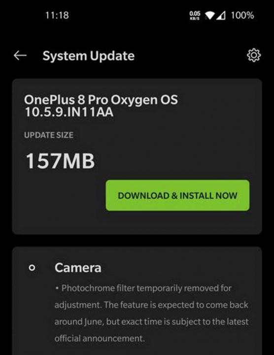 OnePlus 8 Pro raio-X atualização OnePlus filtro