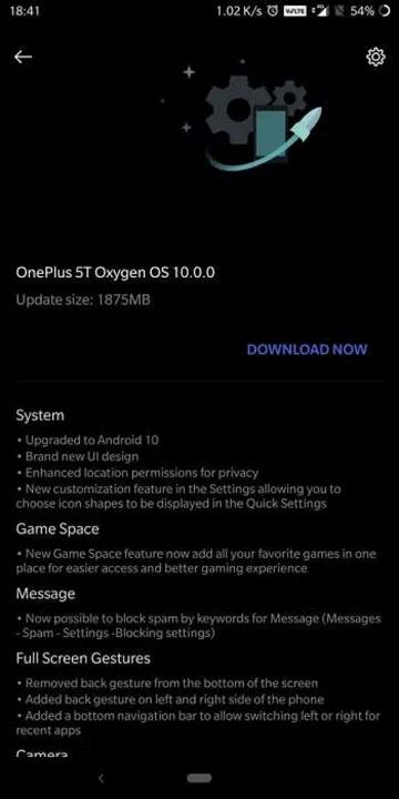 OnePlus 5 Android 10 Google atualização