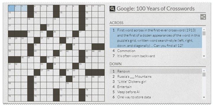 Palavras Cruzadas - Google Doodle