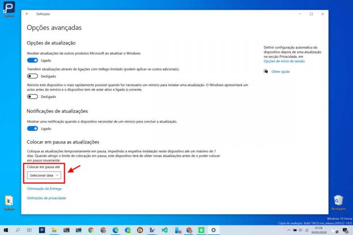 Windows 10 atualização maio adiar pausa