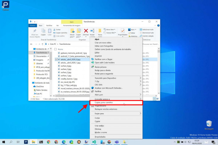 Windows 10 copy context menu quickly