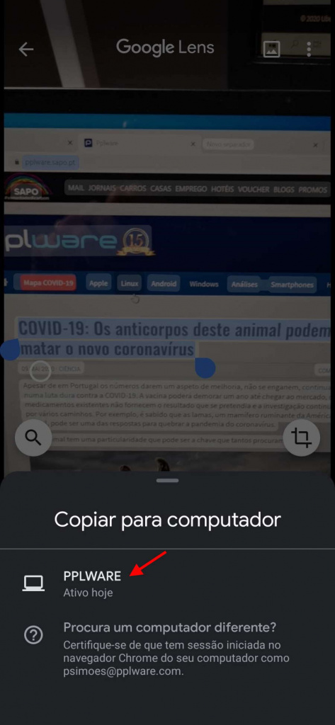 Tip: Copy text from an object to your PC with the Lens app on your smartphone