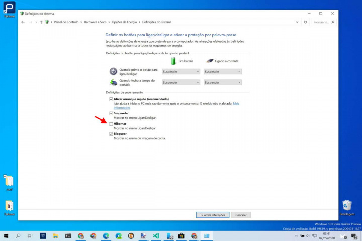 Hibernar Windows 10 Menu Iniciar desligar