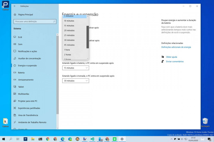 Windows 10 monitor energia poupar PC