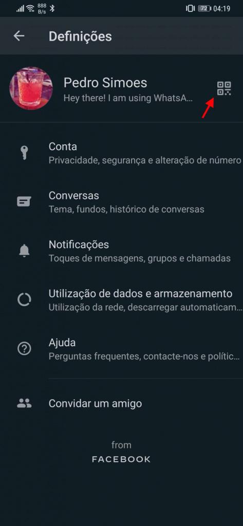 WhatsApp código QR contacto Android