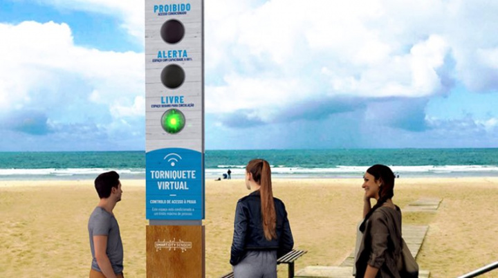 Acesso às praias: Torniquete Virtual com semáforo luminoso