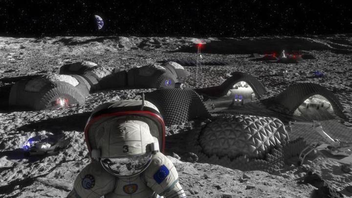 Imagem de astronauta na base da Luna que usará a sua urina para construir