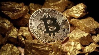 Imagem bitcoin e ouro