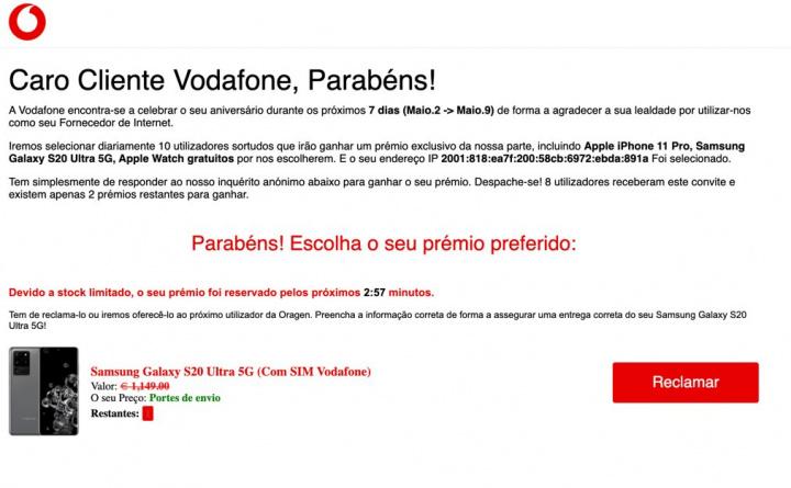 Alerta: Há uma burla a circular em nome da Vodafone! Cuidado
