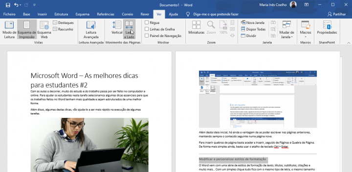Work with pages side by side in word