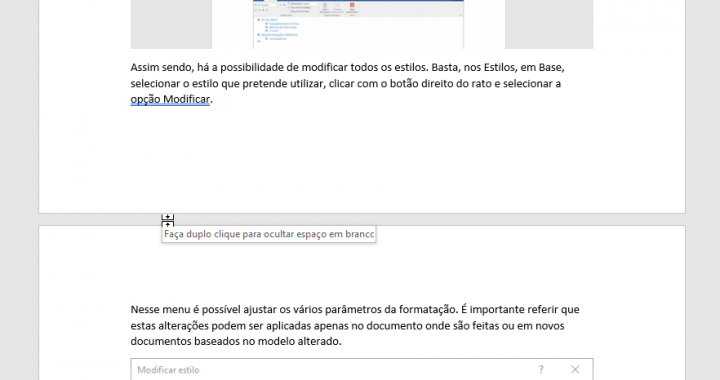 Hide white space between pages in word