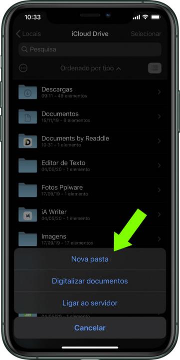 Imagem ficheiro ZIP dentro da app Ficheiros do iOS