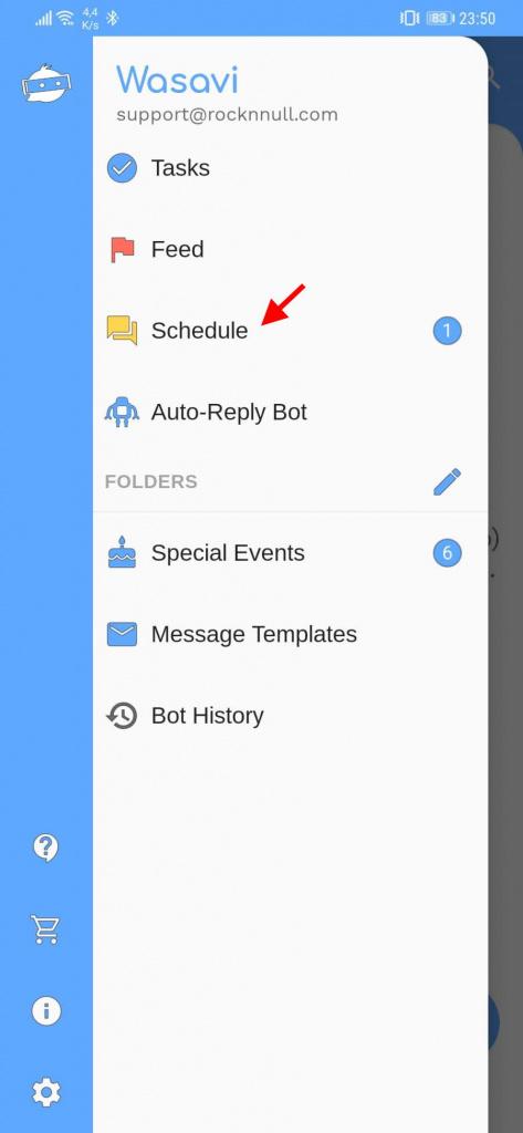 WhatsApp mensagens agendar Wasavi app