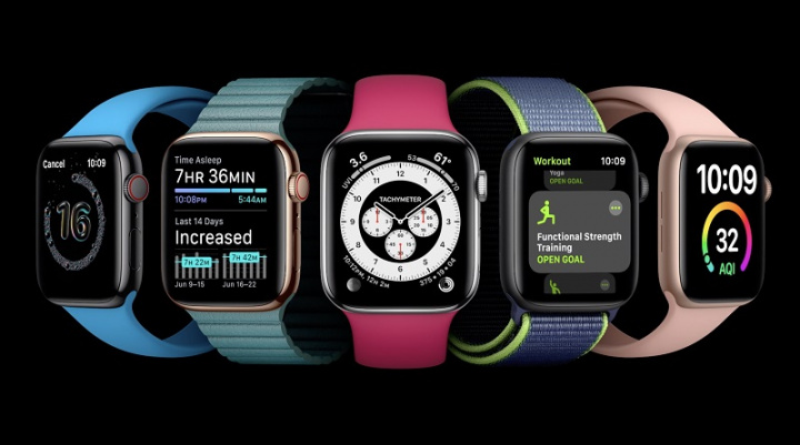 Imagem do Apple Watch com watchOS 7