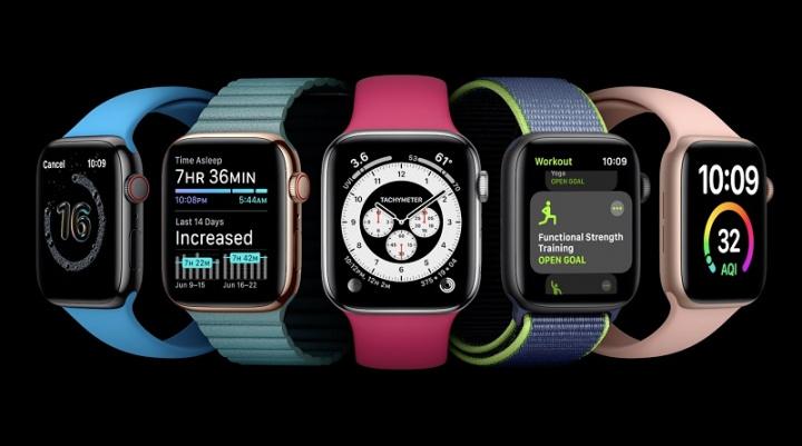 Imagem do Apple Watch com watchOS 7