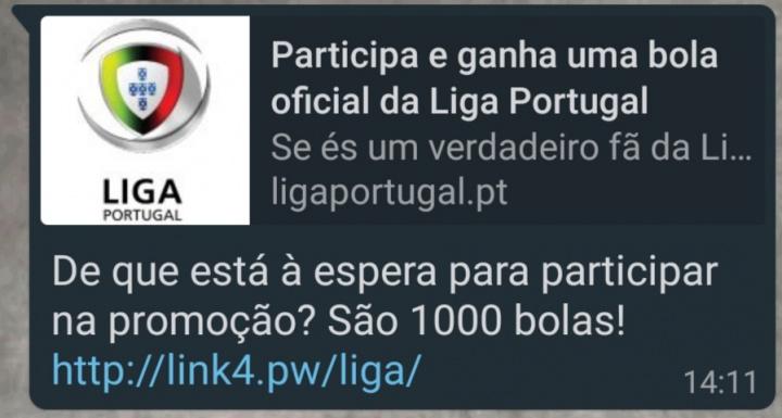 Imagem de malware relacionado com sorteio de bolas da Liga de Portugal no WhatsApp