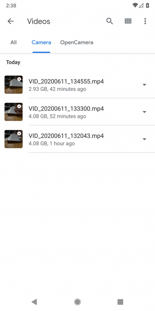 Android 11 vídeo Google tamanho ficheiro