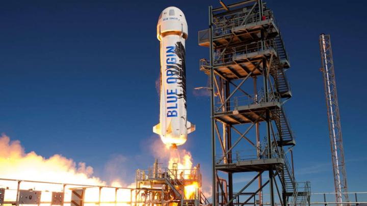 Foguetão New Shepard da Blue Origin, empresa de Jeff Bezos