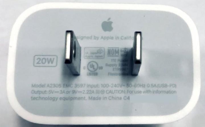 Imagem carregador rápido Apple de 20W para o iPhone 12