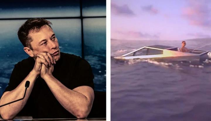 Ilustração do CEO da Tesla, Elon Musk, a ponderar uma Cybertruck anfíbia