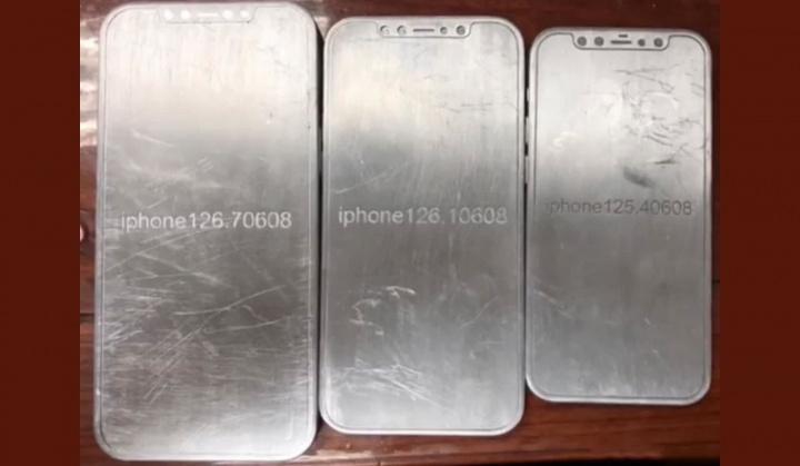 Imagem dos moldes para o iPhone 12 da Apple que apareceram num leak