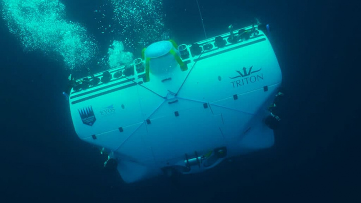Imagem do submarino Limiting Factor que mergulhou na Challenger Deep