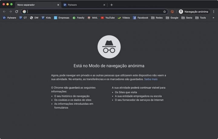 Imagem Modo anónimo do Google Chrome que pode não ser nada privado