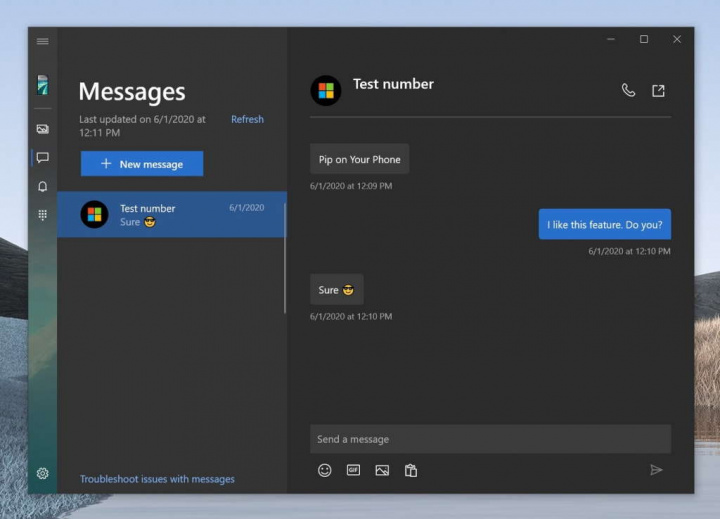 Android Windows 10 messaging smartphone version