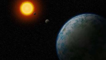 Imagem ilustração de planeta gémeo da Terra
