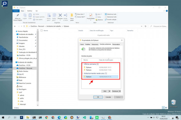 Windows 10 ficheiros pasta eliminados recuperar