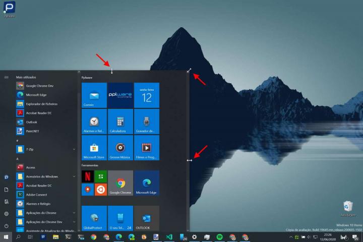 Windows 10 Menu Iniciar tamanho ajustar