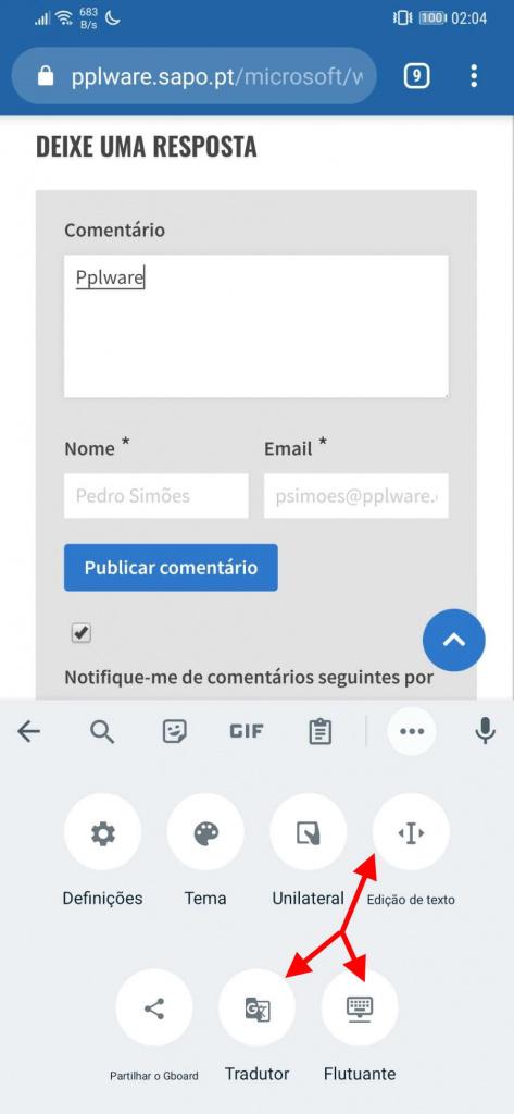 Teclado Android Google opções