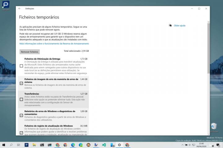 Windows 10 Microsoft apagar ficheiros Transferências